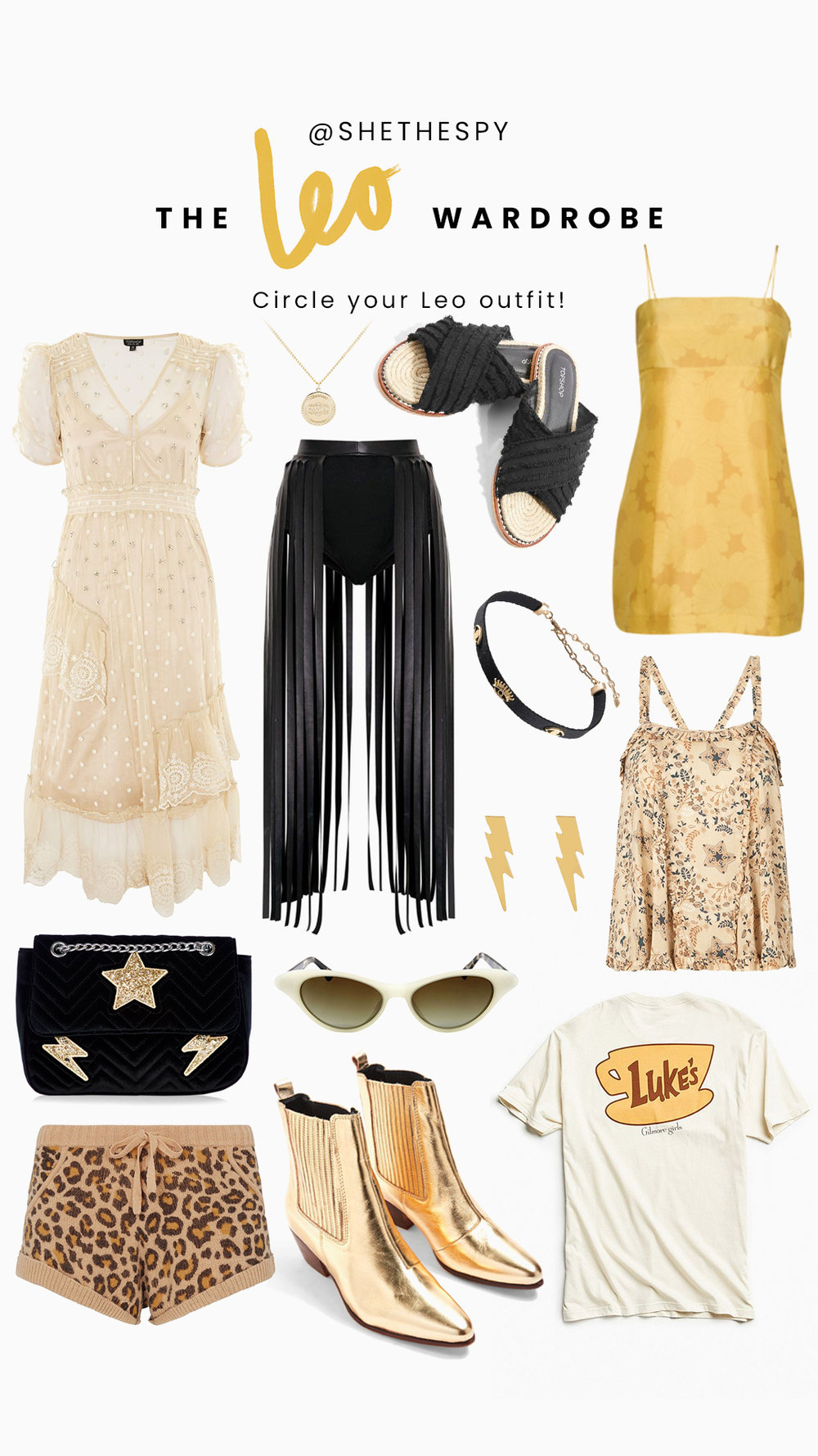 Shop Leo - Cream dress: TopshopNecklace: Skinny DipSlides: TopshopYellow dress: Realisation ParSkirt: Similar from Beginning BoutiqueChoker: UnknownEarrings: Skinny DipBag: Skinny DipSunglasses: ShevokeBoots: TopshopPrinted top: SpellShorts: SpellTee: Urban Outfitters