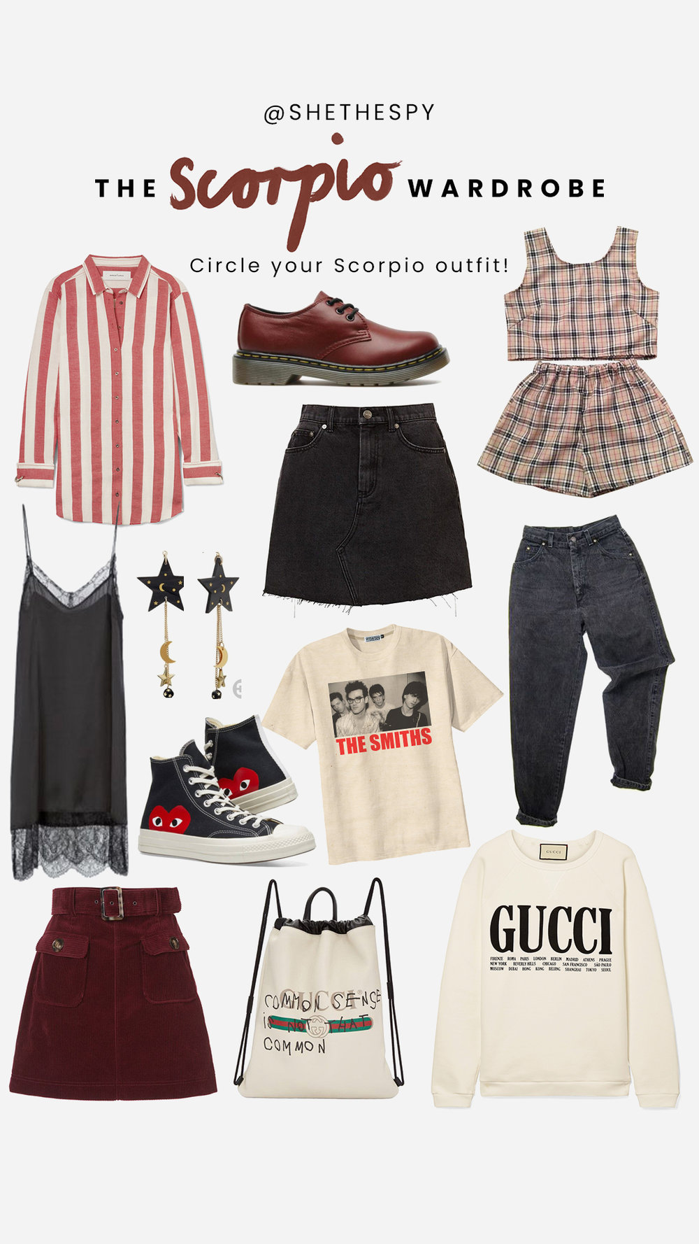 Shop Scorpio - Shirt: Marques AlmeidaShoes: Dr MartensSneakers: Comme Des GarconsSet: UnknownDenim skirt: Similar at AsosDenim: UnknownDress: Similar at AsosEarrings: UnkownTee: VintageRed skirt: Alexa ChungSweater: GucciBag: Gucci - Sold Out