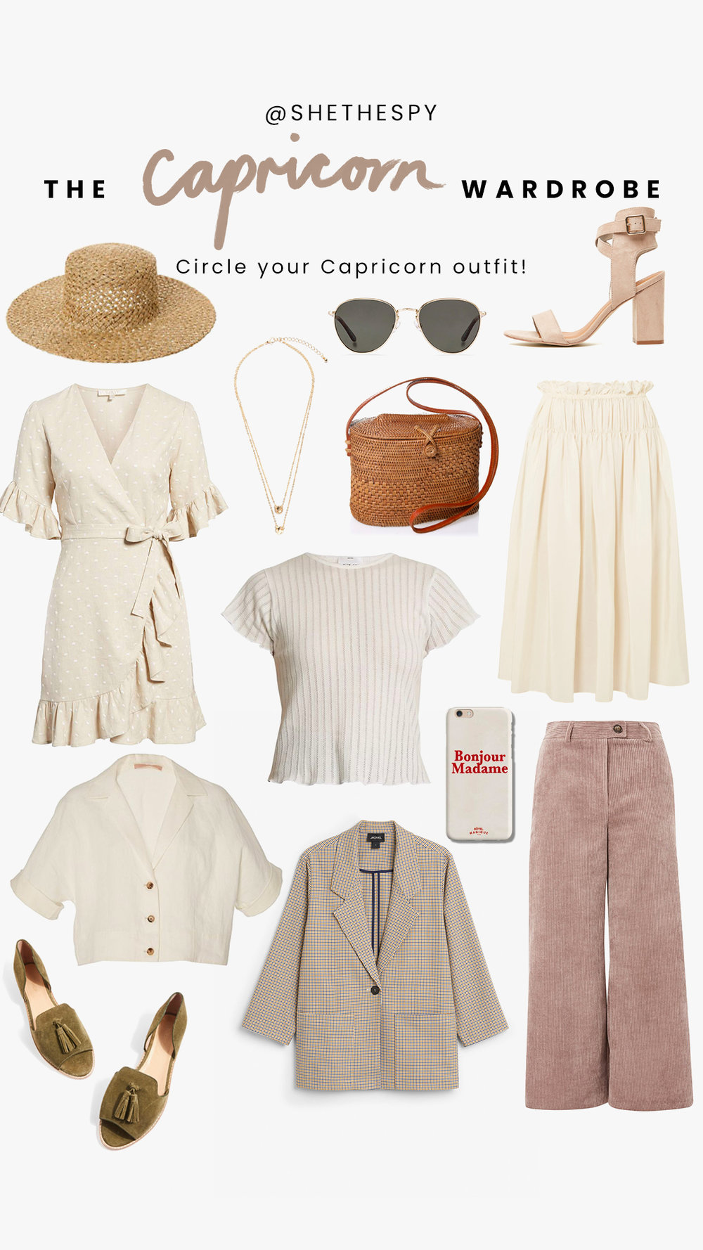 Shop Capricorn - Hat: Lack of ColorNecklace: UnknownSunglasses: Bailey NelsonHeels: TherapyDress: NordstromStripe top: AgatheSkirt: Jill SanderBag: Street LevelPhone Case: The DairyBlouse: UnknownBlazer: MonkiPants: TopshopFlats: Topshop