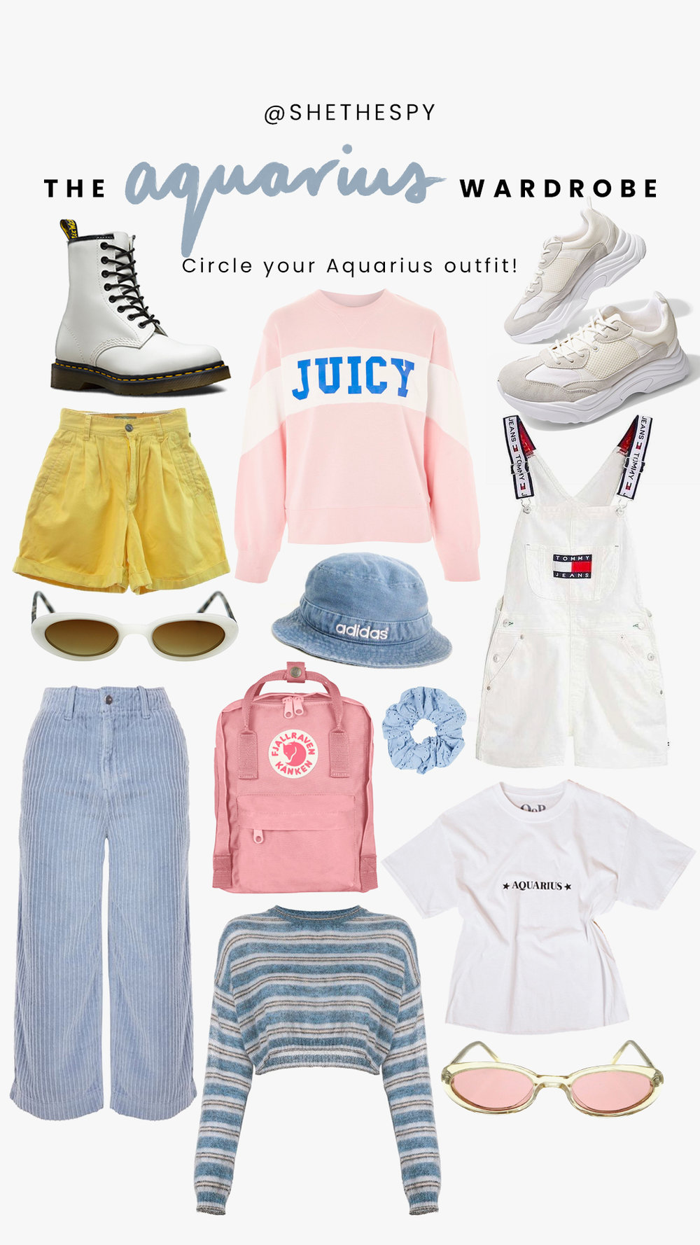Shop Aquarius - Boots: Dr MartensJuicy sweater: TopshopSneakers: TopshopWhite sunglasses: ShevokeHat: Similar at Urban OutfittersOveralls: Tommy JeansScrunchie: Similar at Urban OutfittersPants: TopshopBackpack: FjallravenStripe sweater: UnknownTee: Princess PollyPink sunglasses: Shevoke