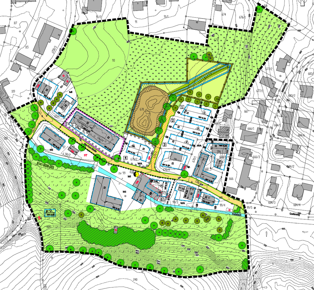 Bebauungsplan (Wohn-/Mischgebiet) mit integriertem Grünordnungsplan
