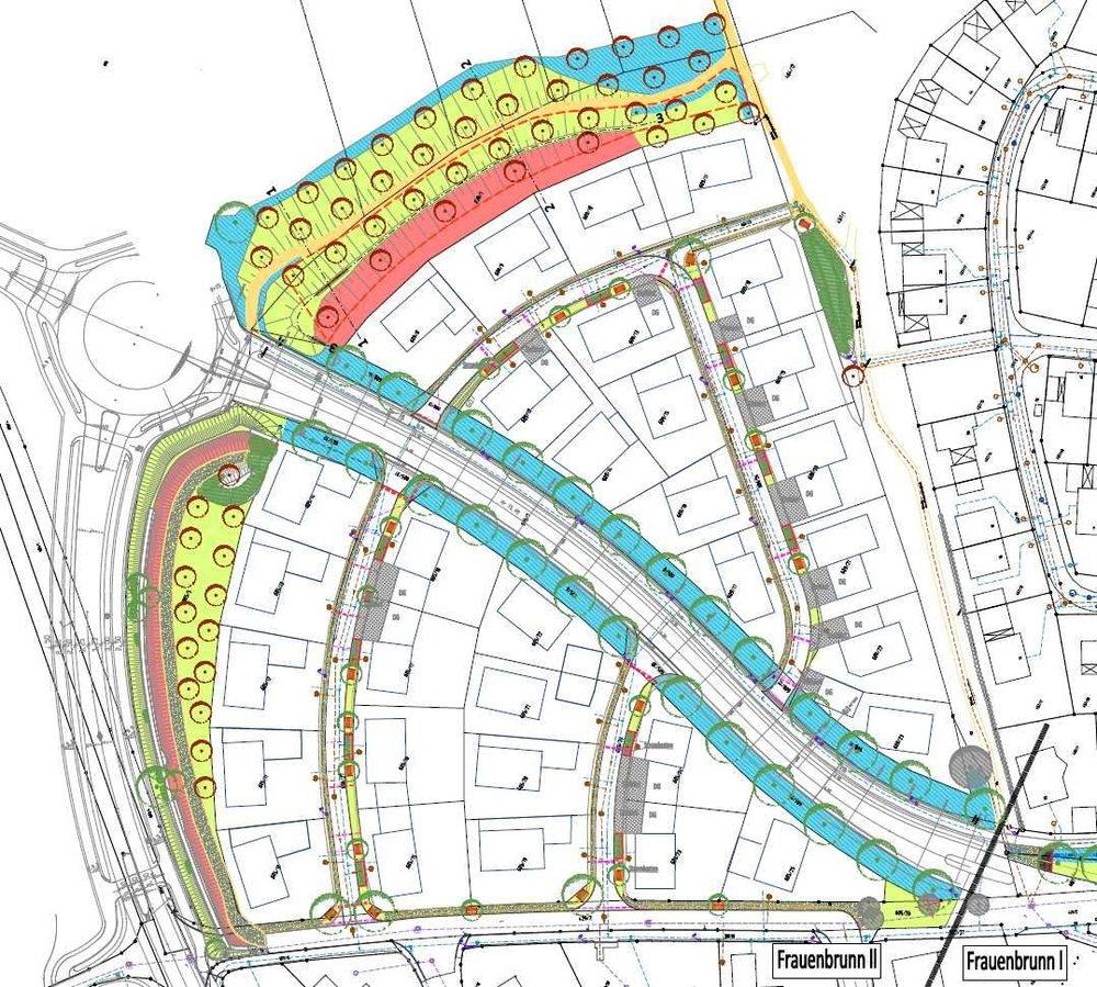 Freianlagenplan im Baugebiet