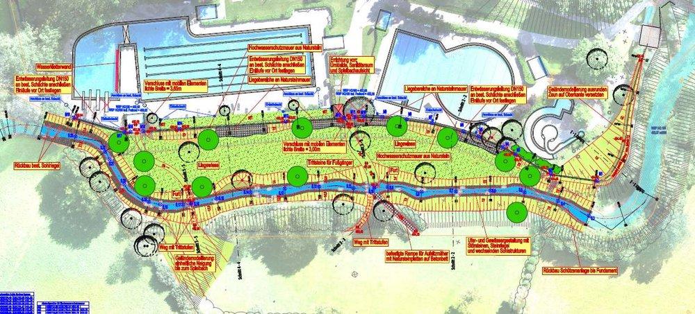 Naturnahe Gestaltung Bachlauf und Liegeflächen in einem Schwimmbad mit integriertem Hochwasserschutz