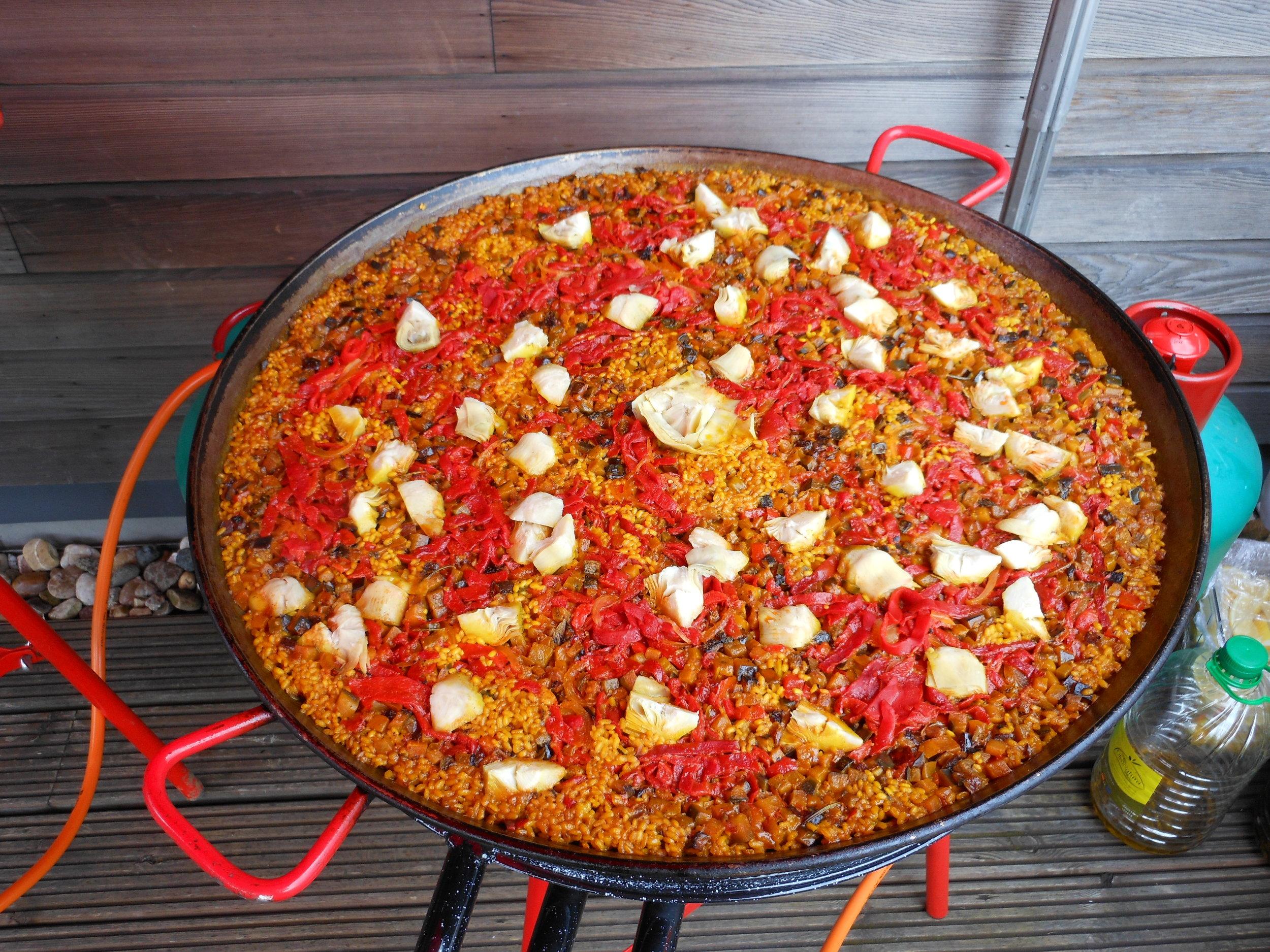 Freshly mad vegetarian Paella with artichokes