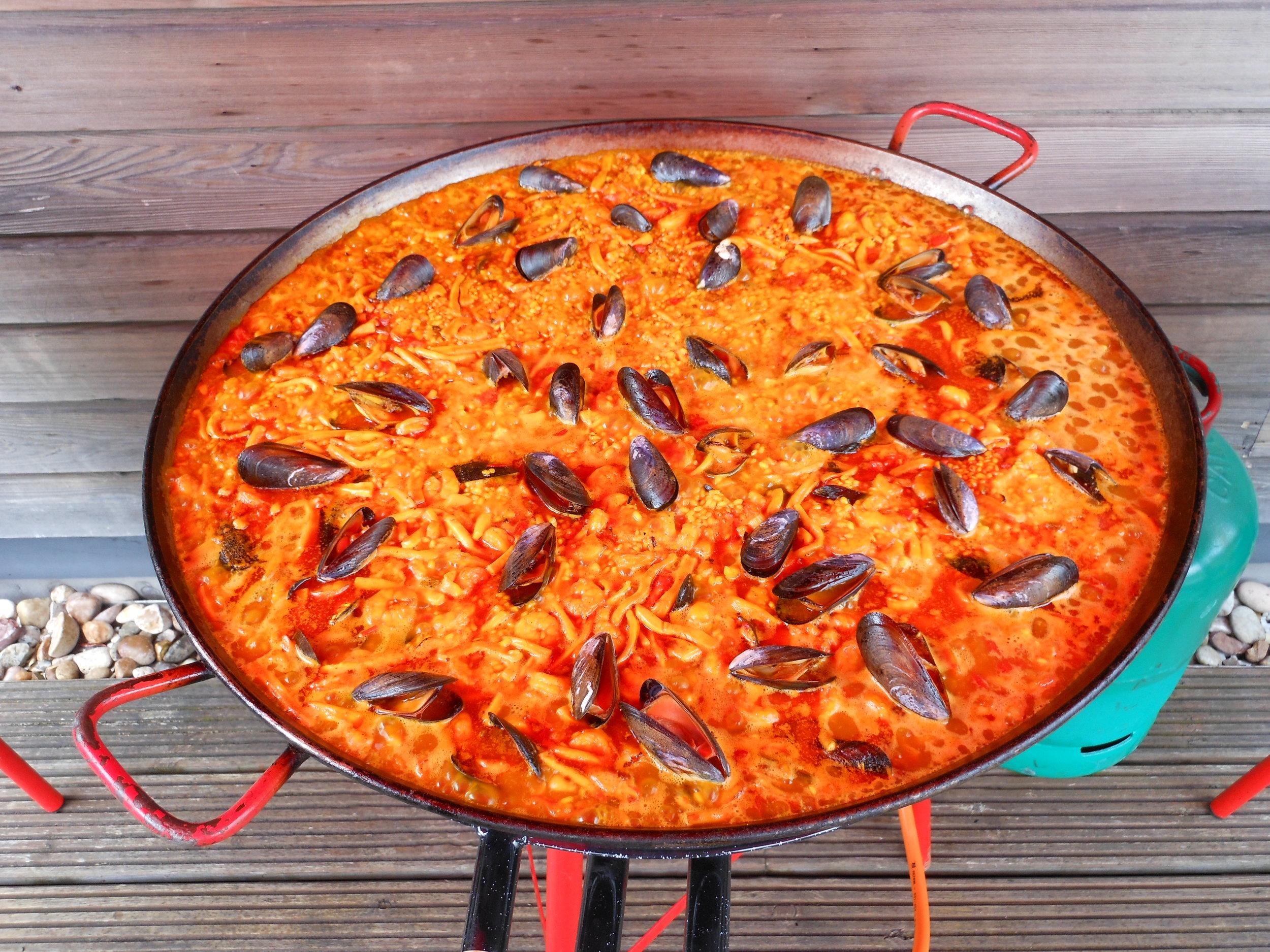 Freshly mad seafood Paella