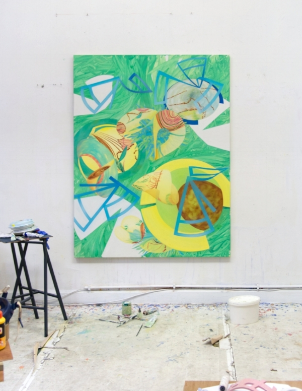 Rebekka Löffler's studio with the installation of:  'Verortete Worte - versonnene Orte' , 2018, Acrylic and oil on canvas 180 x 140 cm