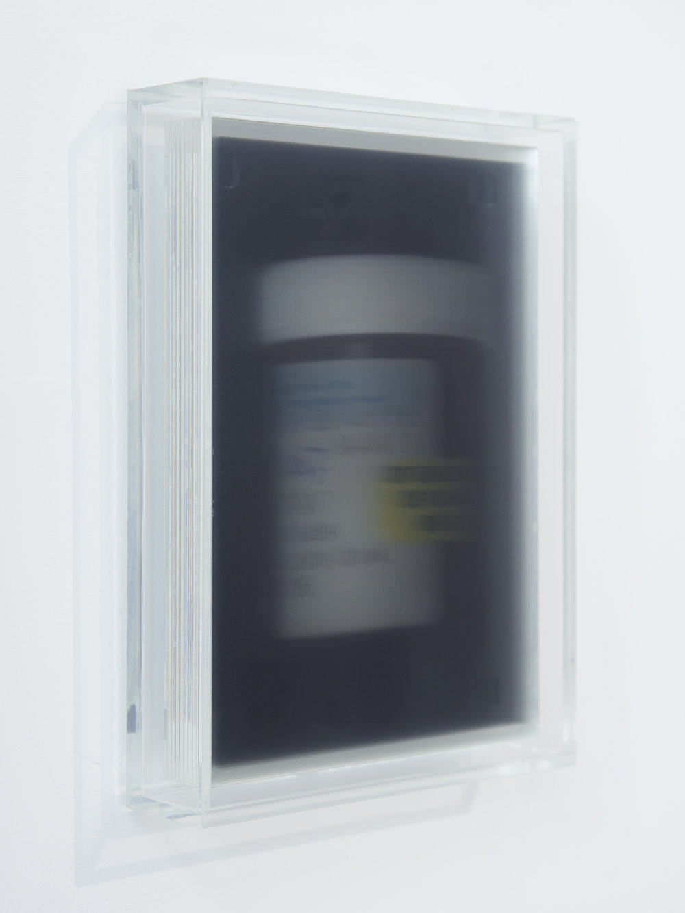 Sofie Middernacht & Maarten Alexander,  'Untitled 2 (From Like Today, But More Like Forever)',  2018 .  8 x 23% inkjet print on acetate, between 9 x 2mm Perspex, 22,5 x 16,3 x 4,5 cm (framed), ed. #3.