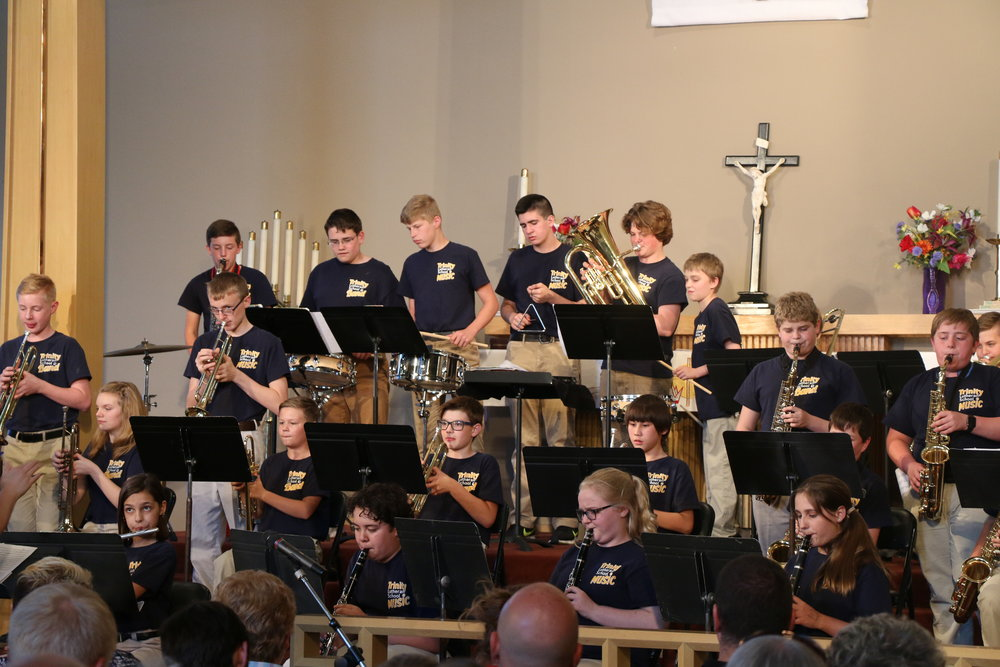 Band - Band class is offered in 5th-8th grades with Beginning Band, Intermediate Band, and Advanced Band levels.