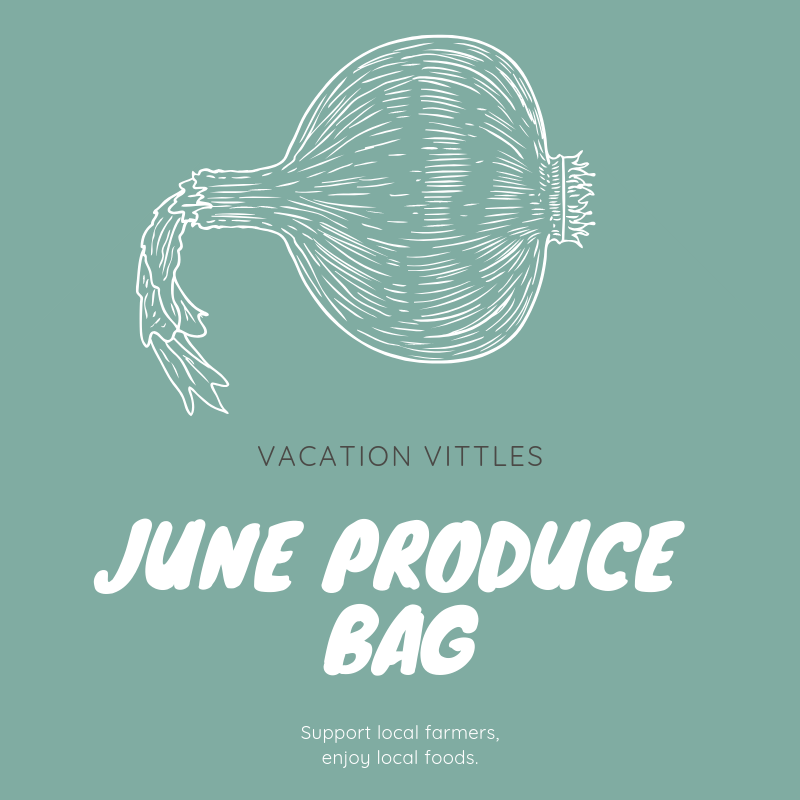 June Produce Bag   $45.00   In June, the Vacation Vittles Produce Bag will contain enough fresh produce to feed a family of four at least three servings of fruit and vegetables for the week. Listed below are the types of fruit and vegetables typically included in a June produce bag; however, the actual contents of your bag will vary depending on each week's harvest.   Summer and zucchini squash    Blueberries    Variety of potatoes    Blackberries    Green beans    Variety of tomatoes    Herbs and cucumbers    Onions and scallions    Variety of lettuces and radish   Each customer vacationing in Ocean Isle Beach Island during the month of June may order one or more bags of produce.