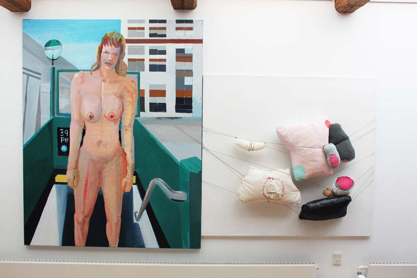 "Marie J. Engelsvold: (to the right) ""I feel vulnable"" 120 x 120 cm. Objects of textiles, acrylic paint, yarn, mounted canvas. 2014. ""Ping-pong"".   PAKHUSgalleriet. 2014 Nykøbing Sj.Denmark"