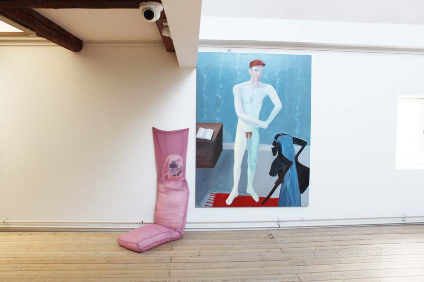 "Marie J. Engelsvold: (to the left) ""My soft spot"" 152 x 45 x 77 cm. Stuffed textile object, canvas object with acrylic paint, yarn. 2011.    ""Ping-pong"".   PAKHUSgalleriet. 2014 Nykøbing Sj.Denmark"