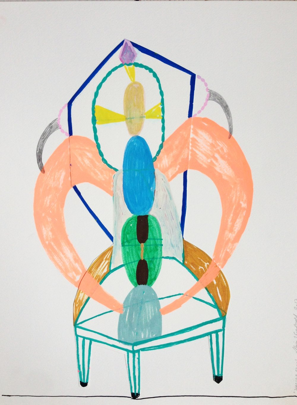 "Marie J.Engelsvold. ""Dancing chair""  29,7 x 21 cm.Acrylic markers on paper.  2017"