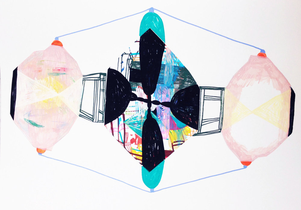 "Marie J.Engelsvold. ""Balancing"" 42 x 84 cm. 2015    This drawing. ""Balancing"", is an exampel of how I had made a drawing that just didn't resonated with me, and made it into something completely new. The diamond shape in the middle was the failed drawing, I placed it on a quite huge paper, and it progressed in a way that was completely unexpected."