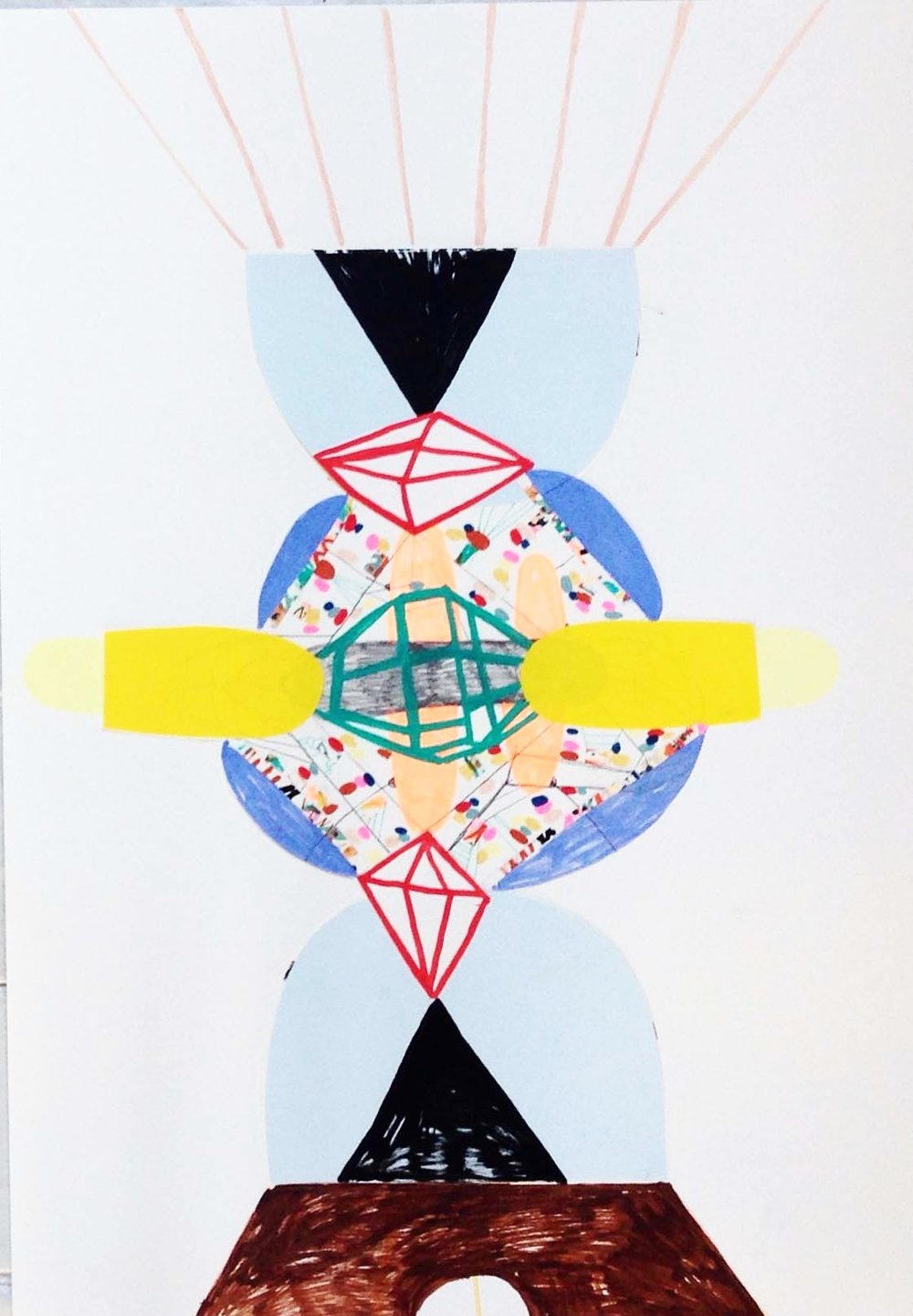 """Aleration of structure"" Acrylic tusch, pencil, and paper cuts on paper. 84 x 42 cm. 2015."