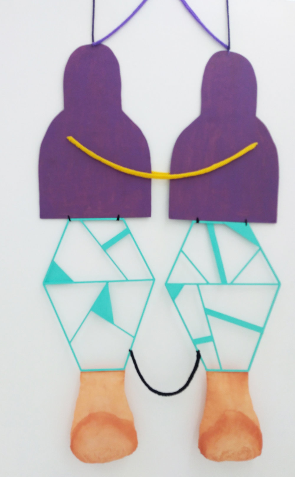 """Mirror self""  Yarn, wood, textile. Swim Gallery. San Francisco. 2018"