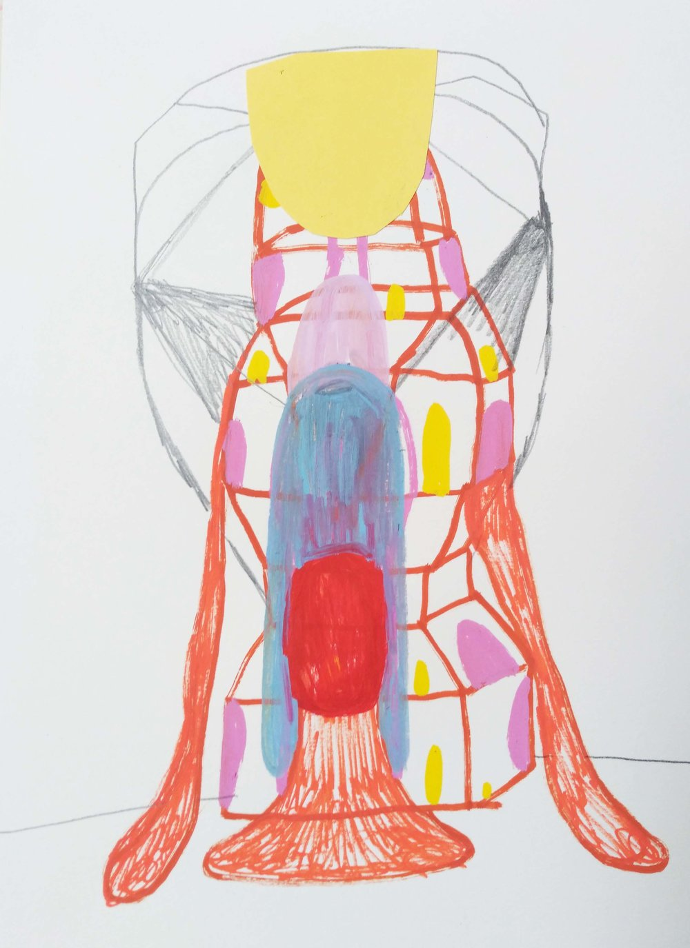 """Marie J.Engelsvold. """"no fear"""" 29,7 x 21 cm. Acrylic marker, pencil and paper cuts on paper. 2019"""