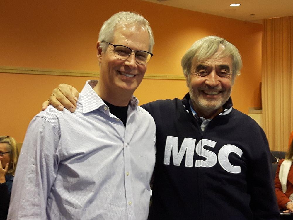 Chris Germer und Hubert Teml beim Seminar im Oktober 2017. Man beachte die  MSC -Jacke von Hubert, passende   zum   Konzept von  M indful  S elf  C ompassion