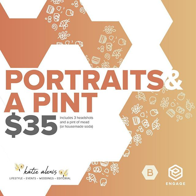 Join us today 1-4 for #portraitsandapint @drinkblom.  3 headshots, pint of mead or housemade soda for$35. #walkinswelcome.