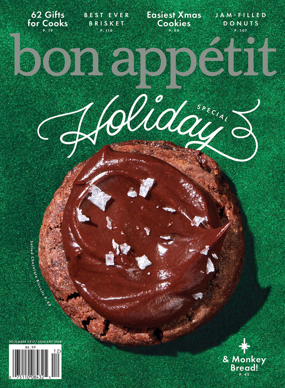 Bon Appétit, December 2017/January 2018  Holiday Cover &  Smart Cookies  by Claire Saffitz  Photography:  Kelsey McClellan  Prop Styling: Michelle Maguire Food Styling: Susan Spungen Hand Lettering: Jen Mussari