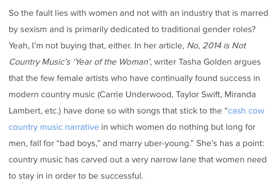 Bustle shout-out - Tasha's article for the Ethos Review got a shout-out in this Bustle Magazine article about sexism in country music.