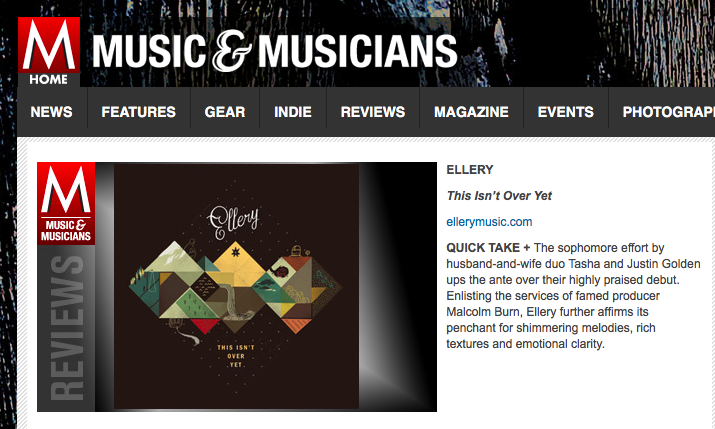 M Music & Musicians love - M gave Ellery some love for