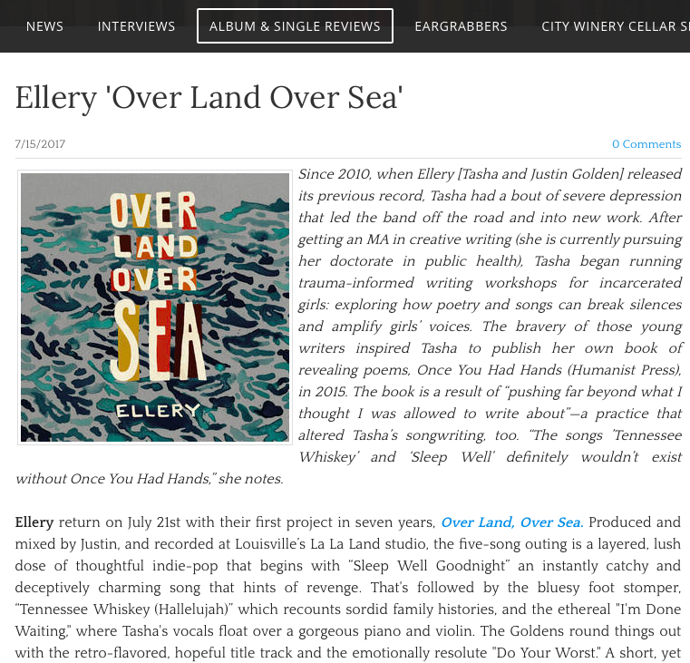 Love for the new EP - The Daily Country had praise for Ellery's