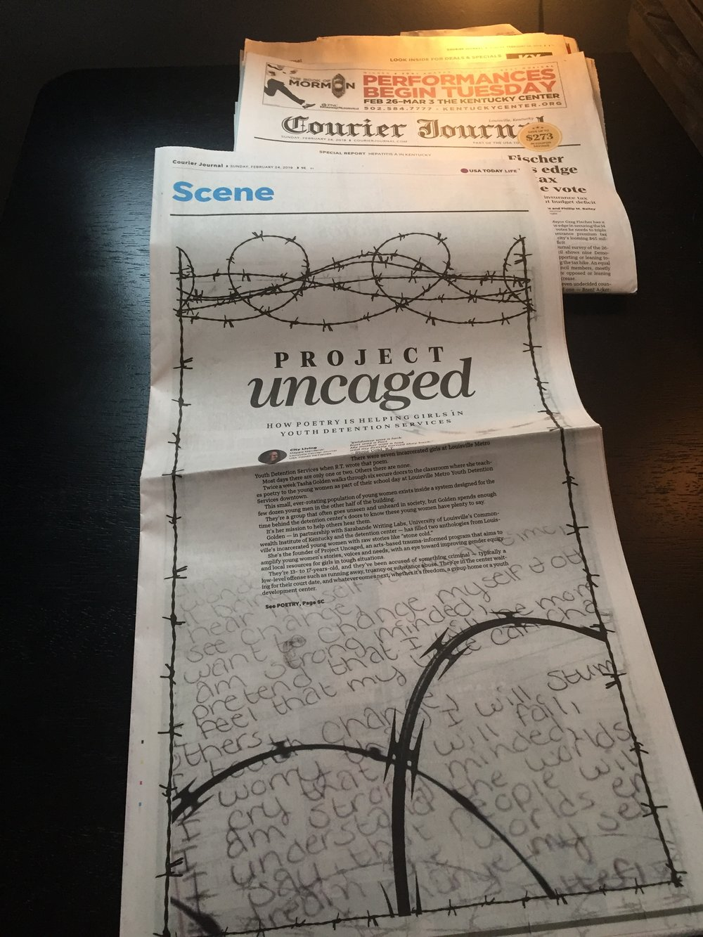 Maggie Menderski of the Courier Journal shadowed Project Uncaged for 3 months, and  wrote about it in this Sunday feature story .