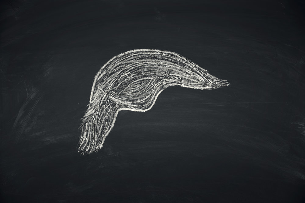Photo of chalk drawing of Trump's hair.