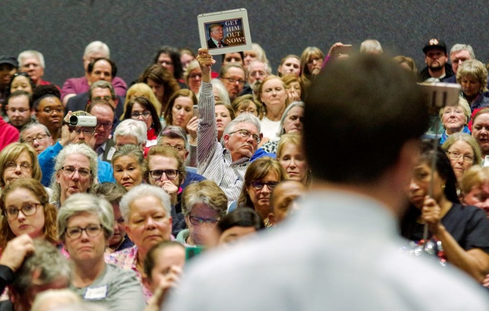 Photo of a member of Congress' town hall.