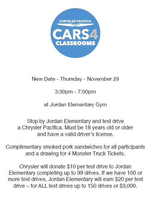Cars 4 Classrooms at Jordan School - Monken Chrysler — The