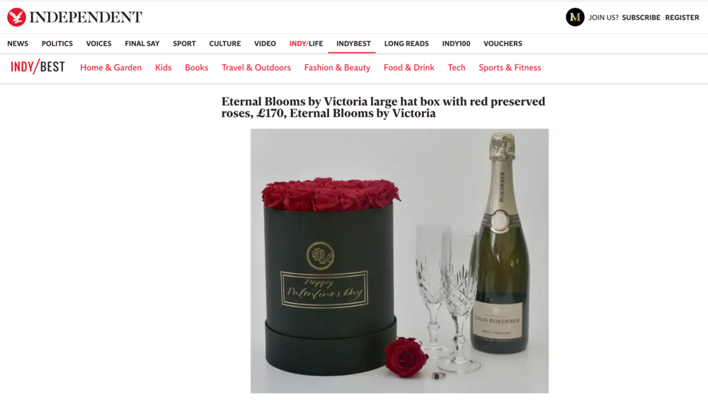 Eternal Bloom by Victoria featured in a Valentine's gift guide by The Independent