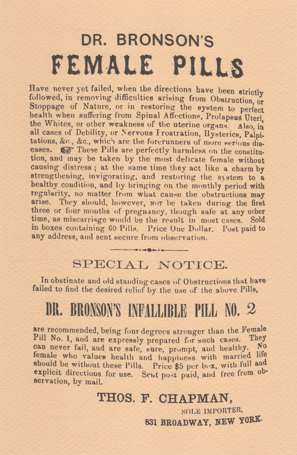 06. Dr. Bronson's Pills_side two of When Abortion Was a Crime handout in envelope WEB.jpeg