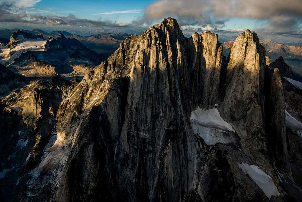 West aspect of the Howser Towers. Bugaboo Group in the Purcell Mountain Range. British Columbia, Canada.  © Neil Ever Osborne