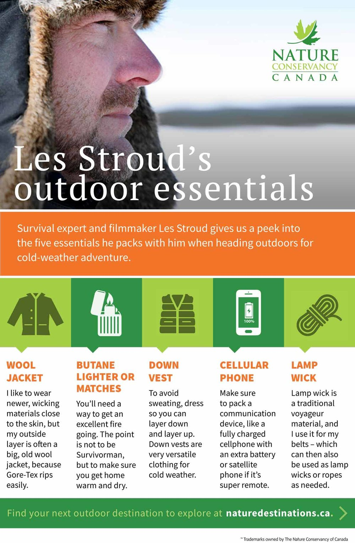 Les Stroud's outdoor essentials infographic