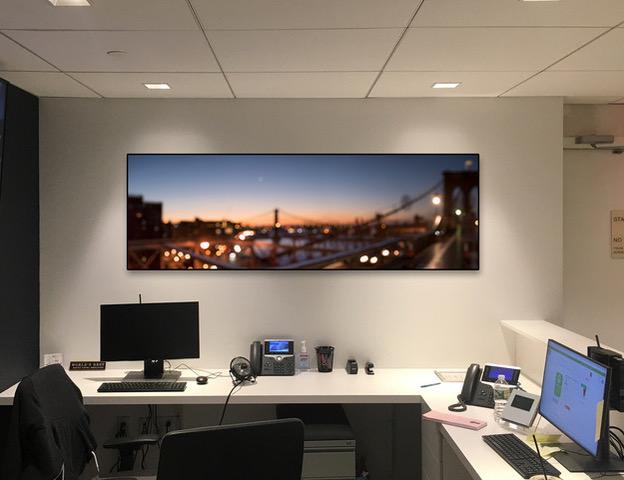 "Brooklyn Bridge Sunrise #87441 26x80"" 1/5 dark walnut frame - Canvas"