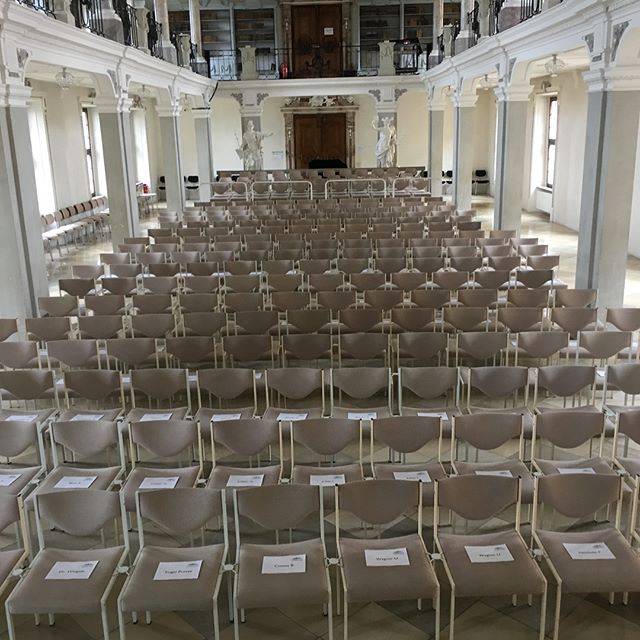 After 6 hours' drive from Eisenstadt, Austria, all the way to Ochsenhausen, Germany, we were pleasantly surprised by the news that out concert tonight is completely sold out. See those white papers on the seats? Those are the names of the audience who reserved them. #stringquartet #tourlife #germany