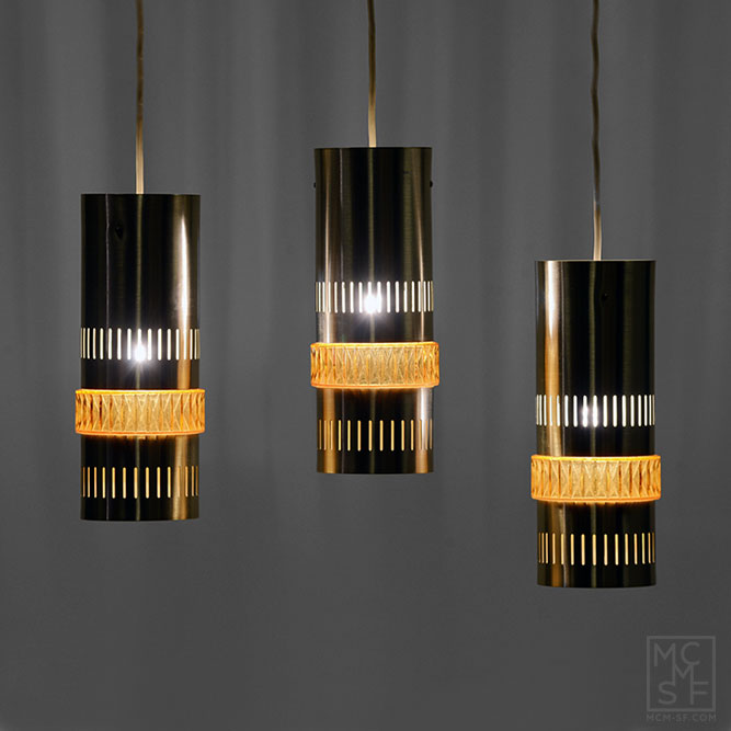 Set Of Three Aluminium Tubular Pendant Lights With Amber Glass Ring - Set of three pendant lights