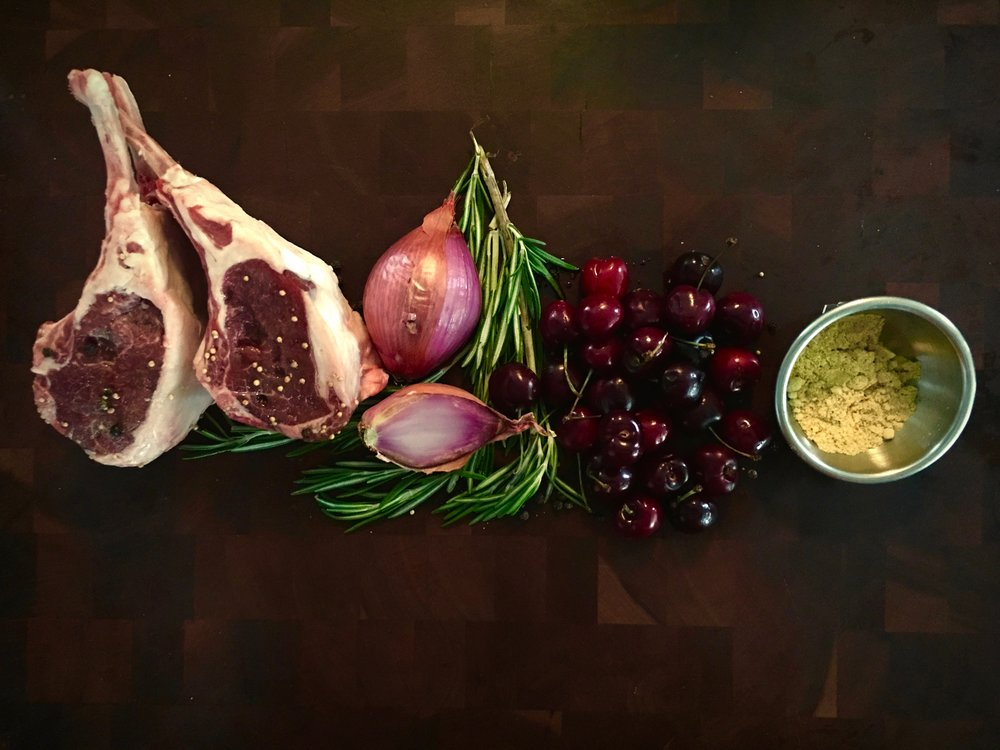 GRILLED LAMB WITH CHERRY MUSTARDA