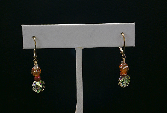 Red and Green Amber Earrings