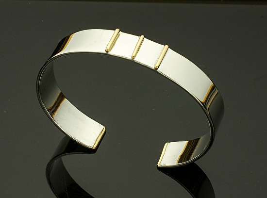 Gold and Silver Men's Cuff - Three 18k Bars