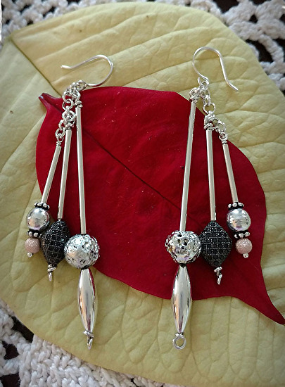 Silver and Gold Filled Long Bead Earrings
