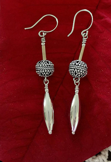 Silver Bullet and Bead Earrings