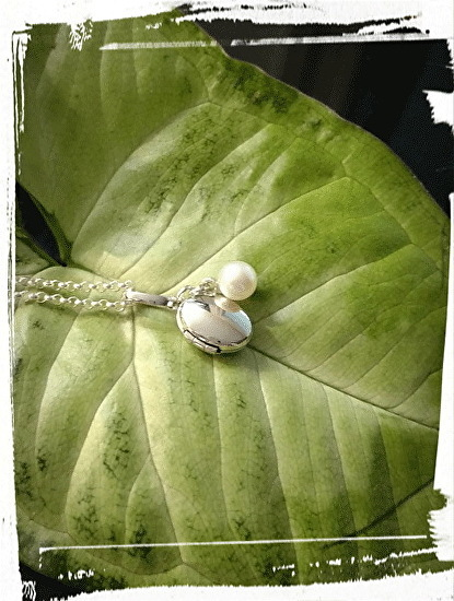 Silver Locket with Pearl