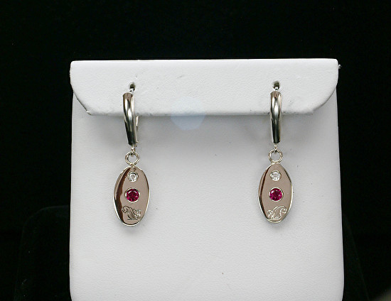 Silver Ruby Swarovski Engraved Earrings