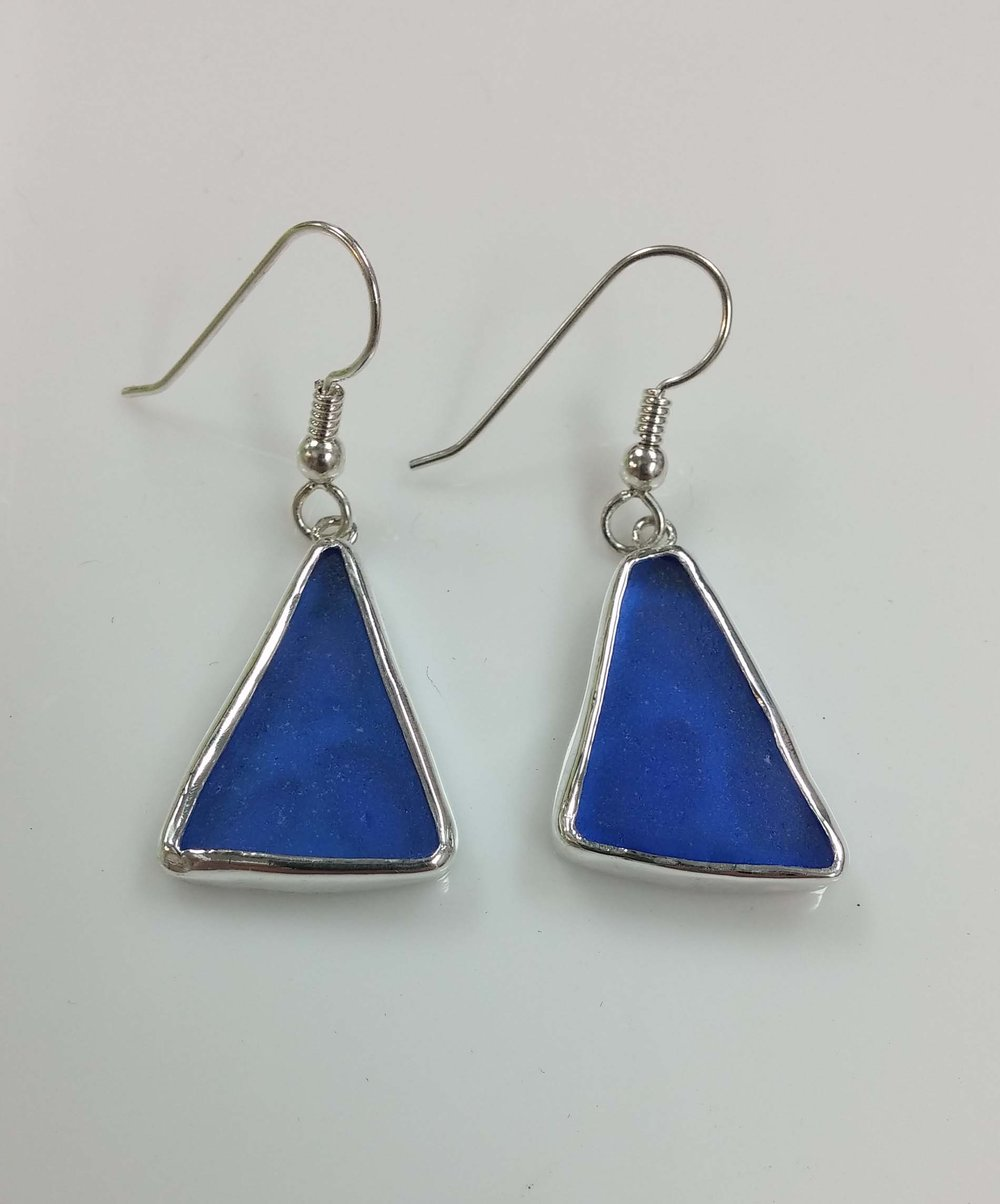 Blue Seaglass Earrings