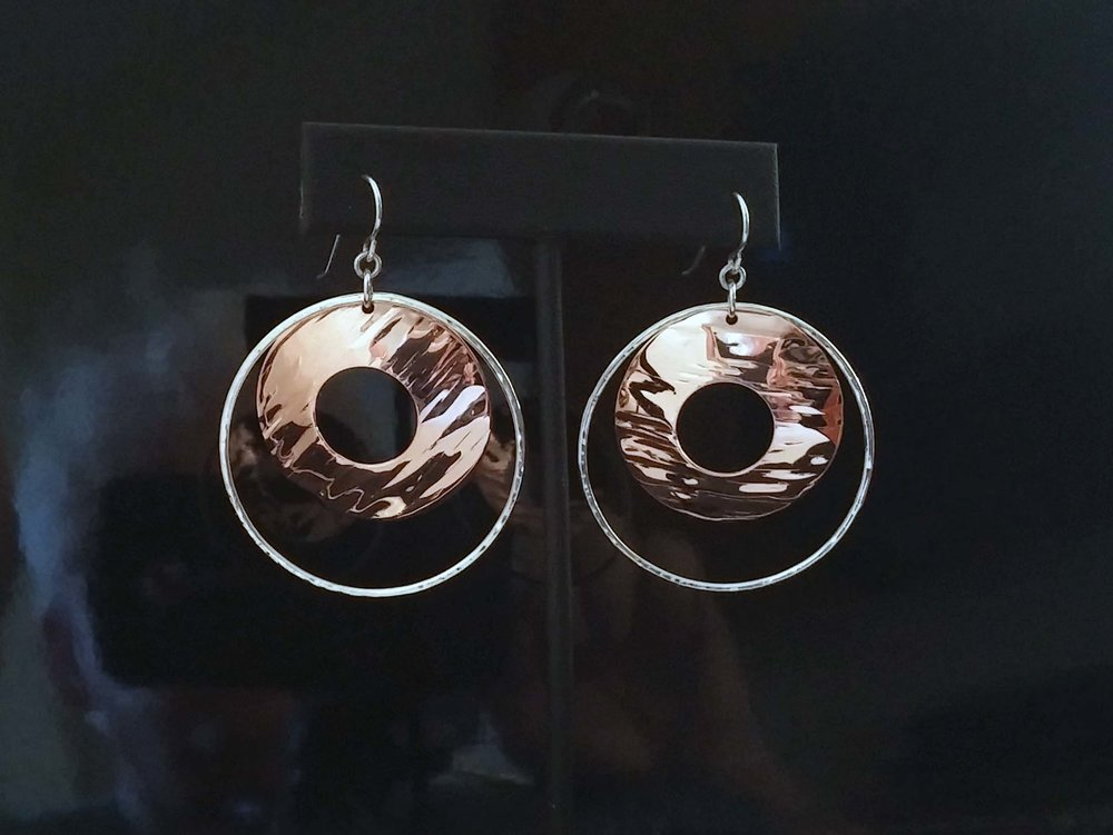 Copper Disc and Silver Hoop Earrings
