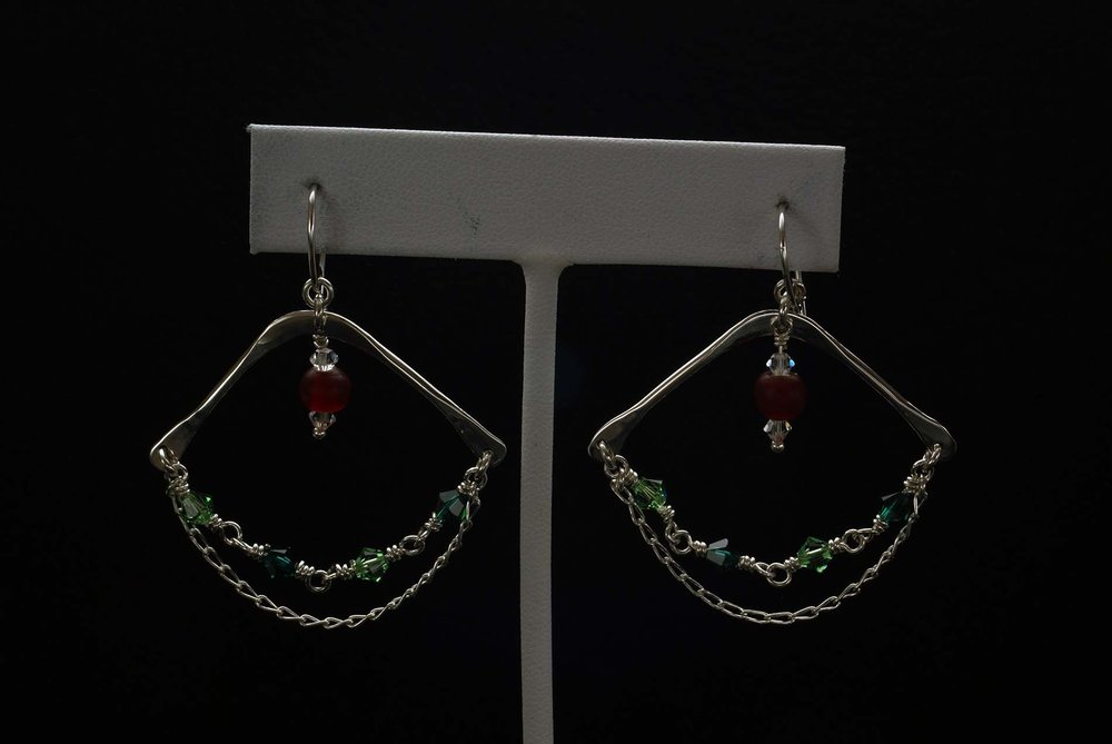 Hanging Chain Beads Earrings