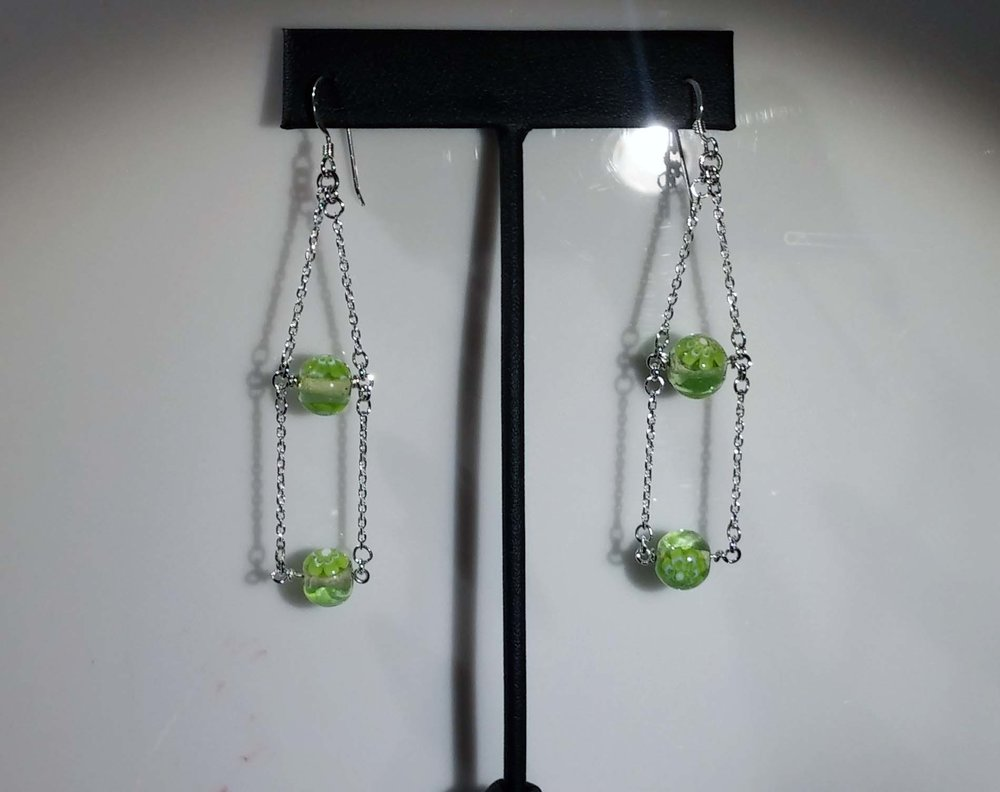 Hanging Green Beads Earrings