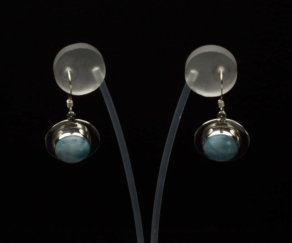 Round Larimar Earrings