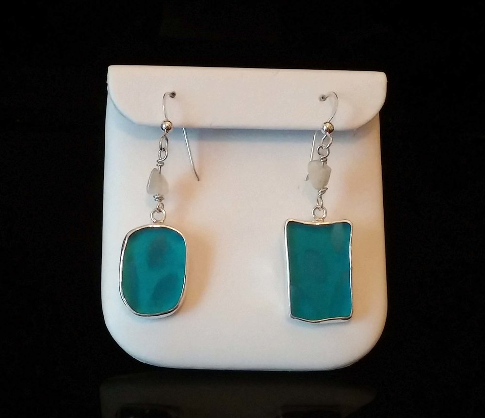 Light Blue Seaglass Earrings